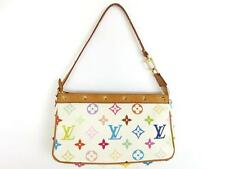 Authentic LOUIS VUITTON Monogram Canvas Leather Pochette Accessoires Pouch Bag
