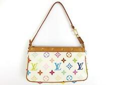 Authentic LOUIS VUITTON Monogram Canvas Leather Pochette Accessoires Pouch Bag