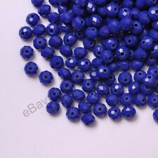 100Pcs Quality Opaque Sapphire Czech Crystal Faceted Rondelle Spacer Beads4MM