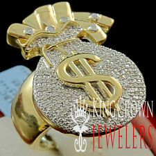 Mens Genuine Diamond Money Bag $ Sign Pinky Ring Band 10K Yellow Gold Finish New