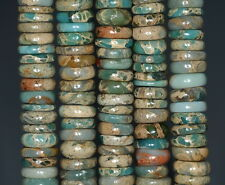 12X2MM SEA SEDIMENT IMPERIAL JASPER GEMSTONE A SLICE RONDELLE LOOSE BEADS 8""