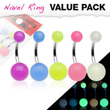 1 PK Of 5 Colors Glow In The Dark Belly Navel Rings 14g 3/8""