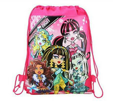 Kid Girl Monster High Child Swim Cartoon Printing Drawstring Backpack School Bag