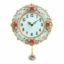 BEAUTIFUL FLORAL ROSES pendulum Antique Style WALL CLOCK CLOCKS NEW