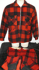 VINTAGE HUNTING OUTFIT JACKET PANTS RED PLAID CHIPPEWA WISCONSIN MENS SMALL