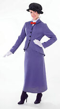 Da Donna Mary Poppins Fancy Dress Costume Vittoriano Nanny GIORNATA MONDIALE DEL LIBRO OUTFIT