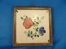 "Ceramic tile hand painted framed wall hanging pink blue flowers 5 1/4"" square"