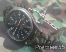 NEW Black Dial Field Watch W/ Custom Olive Drab Paracord Band