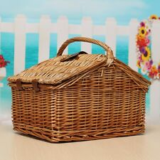 Travel Wicker Hand Picnic Storage Basket Shopping Hamper With Lid and Handle US