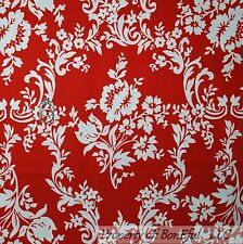 BonEful FABRIC FQ Cotton Quilt Red White Rose Flower Toile Damask US Xmas Calico