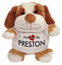 Adopted By PRESTON Cuddly Dog Teddy Bear Wearing a Printed Named T-, PRESTON-TB2