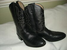 UNISEX KIDS BLACK LEATHER COWBOY BOOT PRE-OWNED  by DAN POST