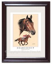 SEABISCUIT- FRAMED HORSE RACING ART racehorse equine portrait painting NICE