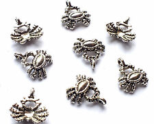 10 x Quality 16mm Silver Plated Crab Charms Embellishment, Nautical Sea Creature