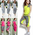 Women's New Sport Tracksuit Lattice T-shirt+Pants Set Running Yoga Jogging TOPS