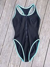 Vintage 80's Zip Front Swim Suit PRO SPIRIT Surf Swimsuit 11/12