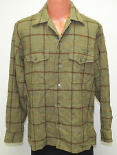 vtg Brooks Brothers OLIVE GREEN & BROWN Shirt L Wool Flannel yellow 50s plaid
