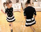 1PC Girls Baby Toddler Retro Black & White Flared Stripe Skirt Mini Dress 2-7Y
