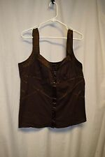 Womens Shirt Size 3XL By Krafty Brown Pull Over Straps Button Front  Padded Bra
