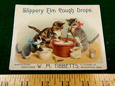 Anthropomorphic Cats Cat Cooking Slippery Elm Cough Drops Tibbetts Candy Card #T