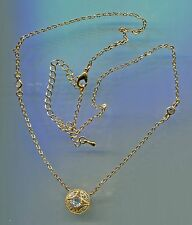 1 CARAT TW CZ BY THE YARD ART DECO LOOK GOLD PLATED CZ HALO SOLITAIRE NECKLACE