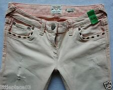 River Island Ladies Jeans Size 8 R skinny pink peach acid wash studs 28/31 NEW