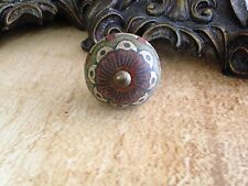 ANTIQUE GREEN,RED,BROWN FLOWER CERAMIC CABINET DRAWER FURNITURE PULL KNOBS