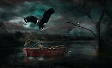 "perfact 24x36 oil painting handpainted on canvas ""eagle,boat,moon""@NO3303"