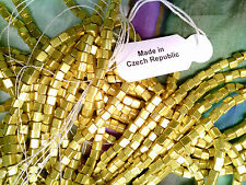 Vtg 2 strands (approx 240 beads)  METALLIC GOLD SQUARE GLASS SEED BEADS #082413w
