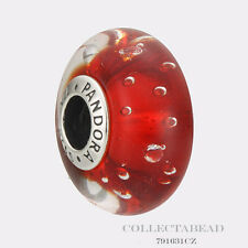 Authentic Pandora Sterling Silver Murano Red Effervescence CZ Bead 791631CZ