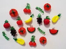 ~19 TINY GLASS CHARMS~VARIETY OF FRUITS AND VEGETABLES~