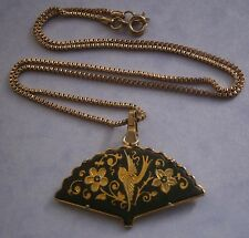 NR135) VINTAGE GOLD TONE METAL SPANISH DAMASCENE TOLEDO GOLD LEAF INLAY BIRD