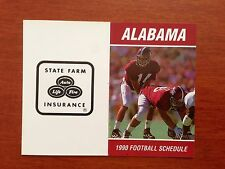 CFB 1990 ALABAMA CRIMSON TIDE Football Schedule College QB GARY HOLLINGSWORTH