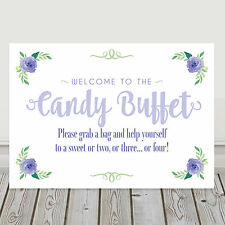 Lilac and Green Candy Buffet Sweet Table Sign for Weddings BUY 2 GET 1 FREE (L8)