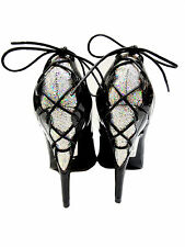 MADE IN ITALY GLITTER HEELS CORSET PUMPS SCHUHE DECOLTE LEATHER BLACK NERO 44
