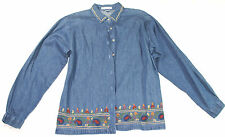 Maggie & Max dark blue denim blouse with embroidery trim, size M