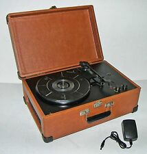 Crosley CR49 Traveler 3-Sp Portable Suitcase Turntable/Record Player,AC Adapter!
