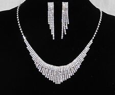 Bridal Wedding Silver W. Clear Rhinestone Crystal Drop Necklace And Earrings Set