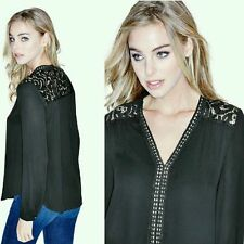 ??? GUESS BY MARCIANO HARPERS LONG-SLEEVE LACE MIX TOP???