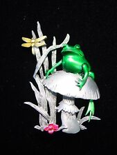 """JJ"" Jonette Jewelry Silver Pewter 'FROG on Mushroom' with Dragonfly Pin"