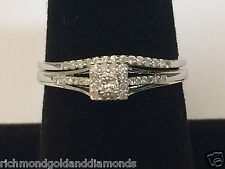 White Gold Splint Shank Princess Cut Halo Style Engagement Bridal Wedng Set Ring