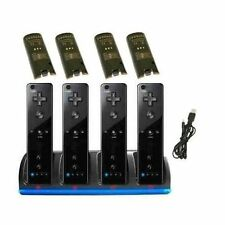 Nintendo Wii Black Quad Remote Station Dock Stand with 4 Rechargeable batteries