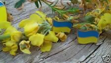 Ukrainian patriotic ear rings Ukrainian Flag, brass, golden coated, jewellery