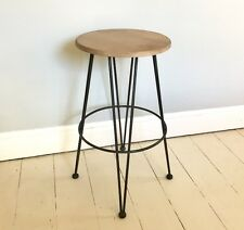 Brunel Bar Stool, rebar metal in Pewter colour finish, fixed height