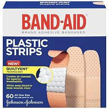 Band-Aid Adhesive Bandages Plastic All One Size, 60 sterile Bandages Each