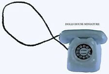 Dolls house Miniature Rotary Telephone In White Accessory Phone