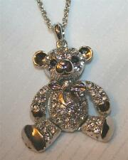 Delightful Sculpted 3-Dimensional Teddy Bear Moveable Legs Rhinestone Necklace