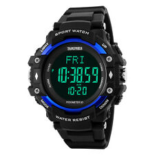 Sport Heart Rate Pedometer Waterproof LED Digital Watch Military Army Wristwatch