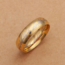 Stainless Steel Gold Tone Gold Band Lord Of The Ring Size 8 B98