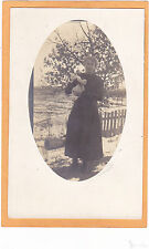 Real Photo Postcard ROPC -Woman Outdoors Holding Cat